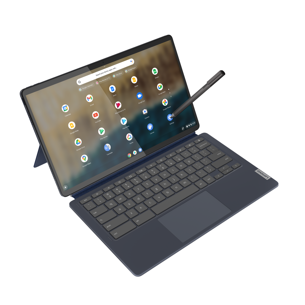 Lenovo Chromebook Duet w trybie laptopa, widziany z góry na białym tle z rysikiem prostopadłym do prawej strony panelu.  Na ekranie zostanie wyświetlony program uruchamiający Chrome OS.